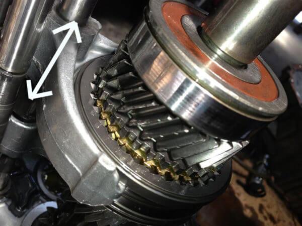 シフトフォークがシンクロスリーブを移動させてギアが切り替わる構造説明