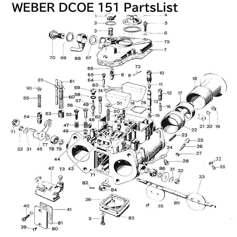 WEBERウェーバーキャブレターの展開図パーツ一覧DCOE151