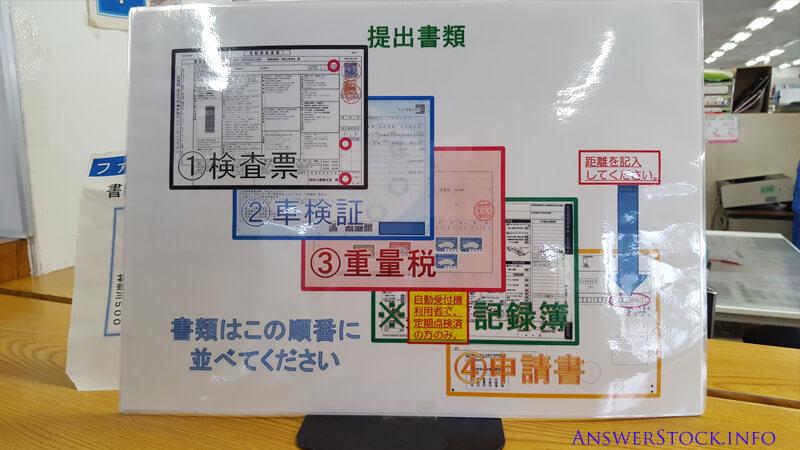 車検場の受付提出書類