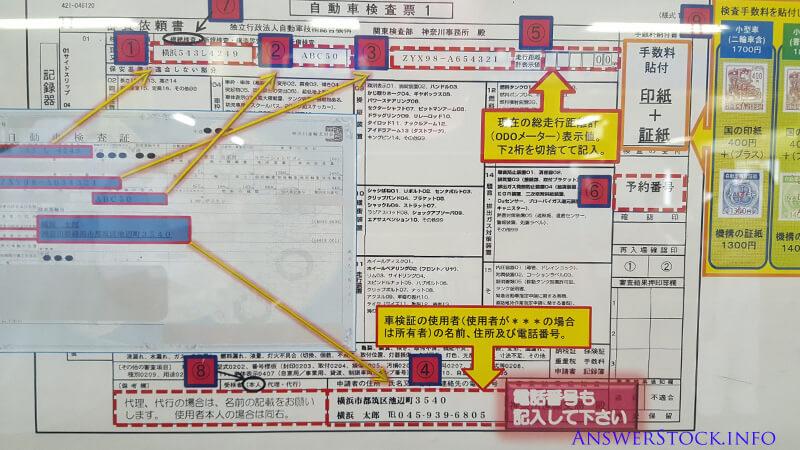車検の申請書の記入方法