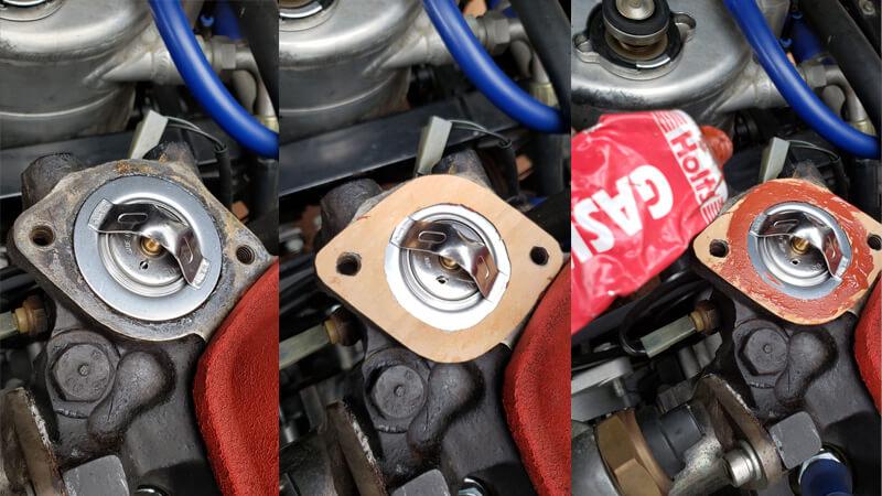 サーモスタット交換方法はガスケットを作成して液体ガスケットを塗る