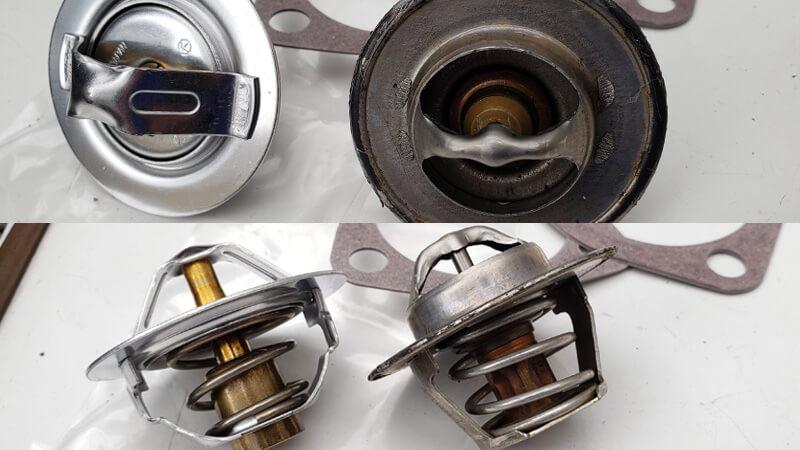 イギリス製と日本製のサーモスタットの比較、作りが大きく違う